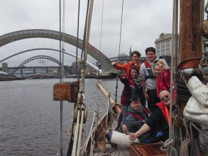 Young people on deck in Newcastle