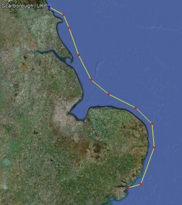 Chart showing route from River Orwell to Scarborough
