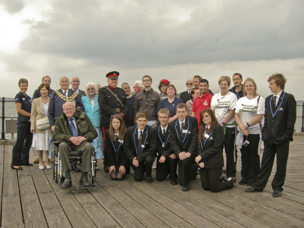 Group shot of welcoming reception on Harwich Pier