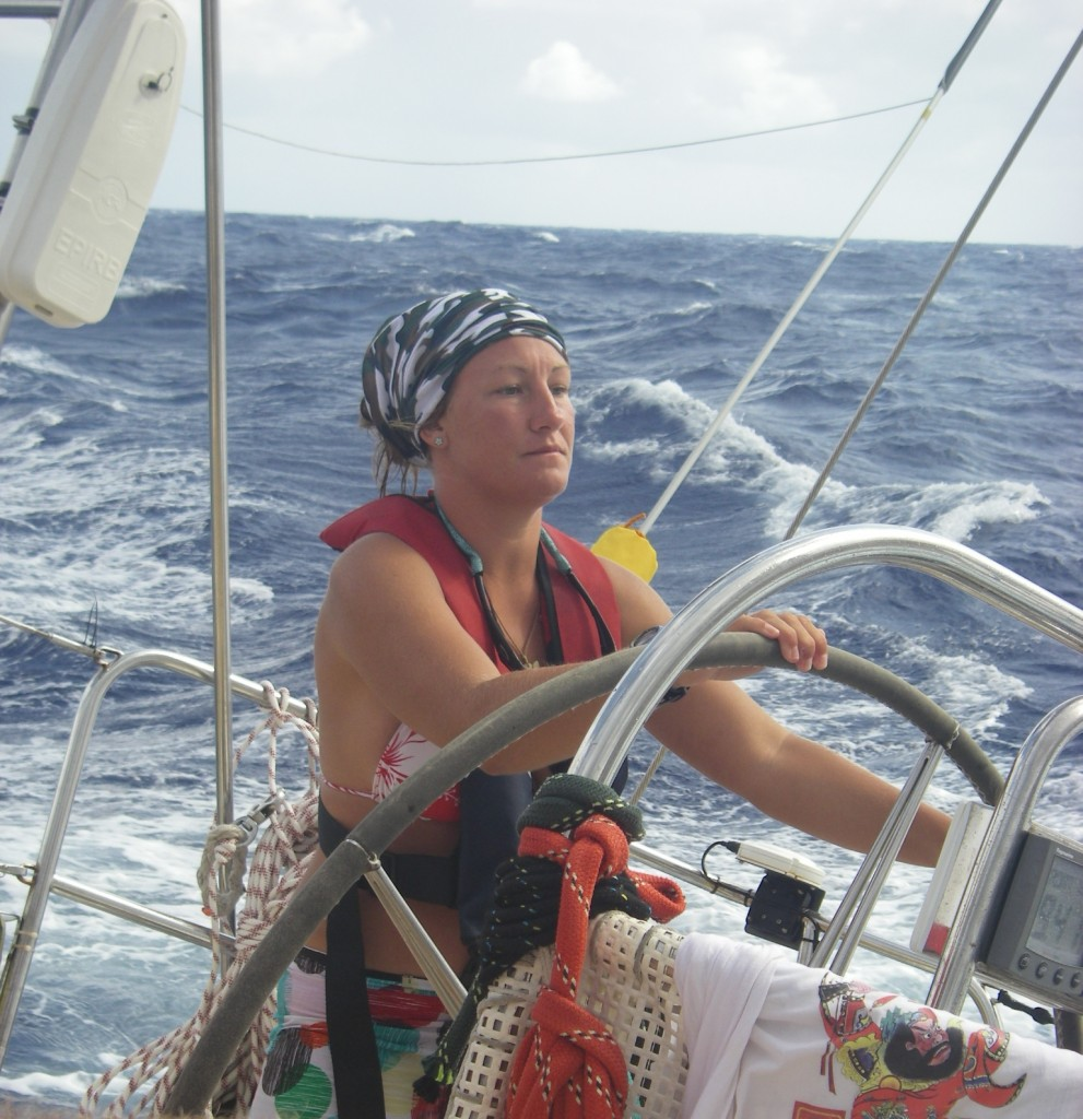 Lisa Pover helms a Challenge boat